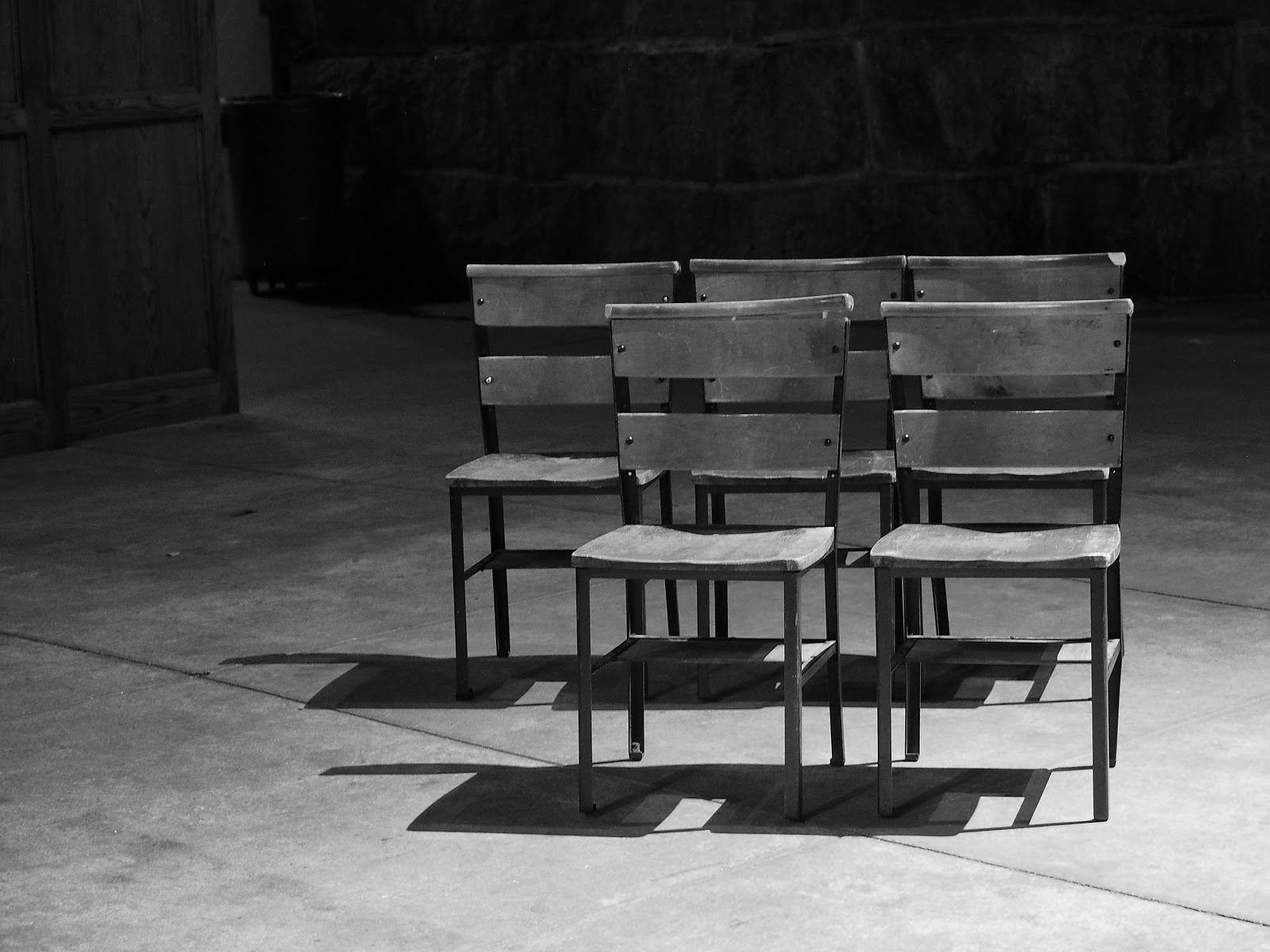 Chairs on an Angle - Black and White #chairsonanangle-bw  #phoenix  #xubing #stjohnthedivinecathedral #art #nyc ©2014 Nancy Lundebjerg