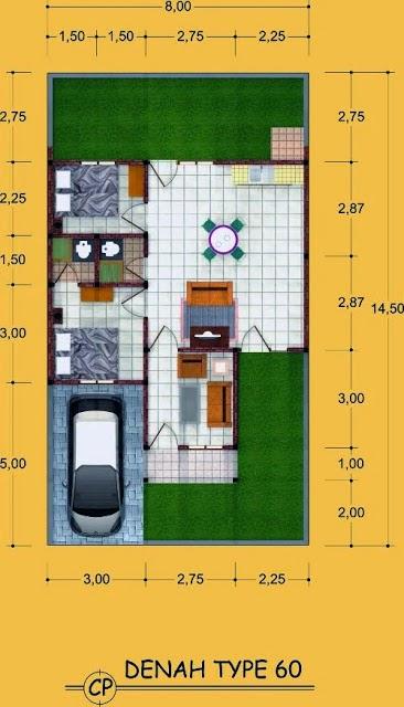 Denah Rumah Minimalis Type 60