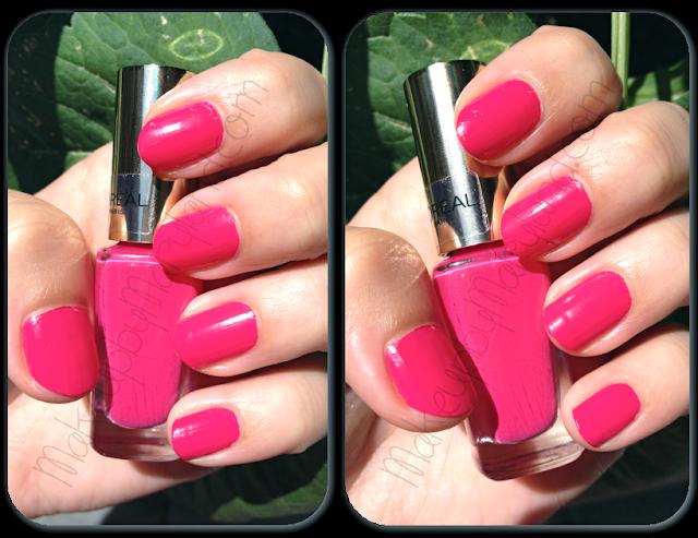 loreal-l'oreal-le-vernis-nail-polish-pintauñas-swatches-aplicado-210-shocking-pink-pincel-plano-larga-duración-fácil-aplicación