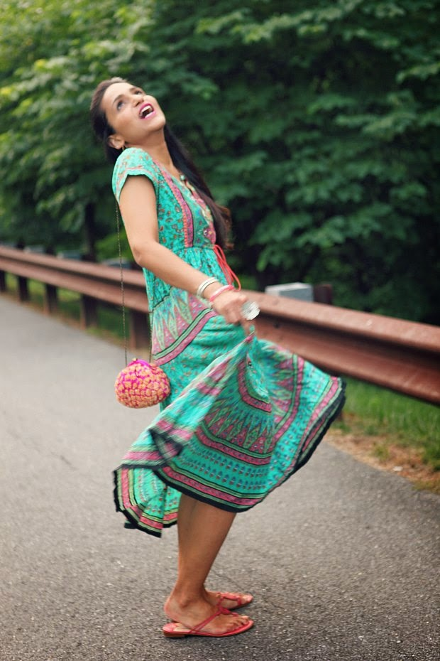 Dress - Rain & Rainbow, Flats - Jimmy Choo, Clutch - Crazy & Co.,  Pendant - From Bhutan, Tanvii.com