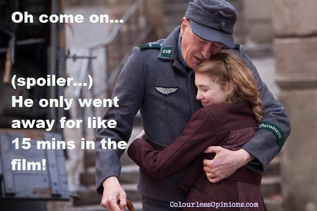 Book Thief movie still meme - Geoffrey Rush hugging Sophie Nielisse
