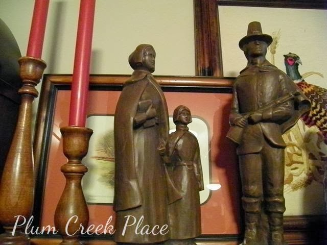 ceramic pilgrims, fall decor