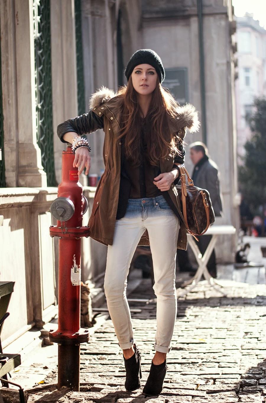 fashion blogger, parka jacket outfit, mango parka jacket, street style 2013, fashion blogger, neon rock katerina kraynova, details, oasap accessories, style details