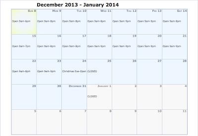 ENJOY 2013 Holiday Hours
