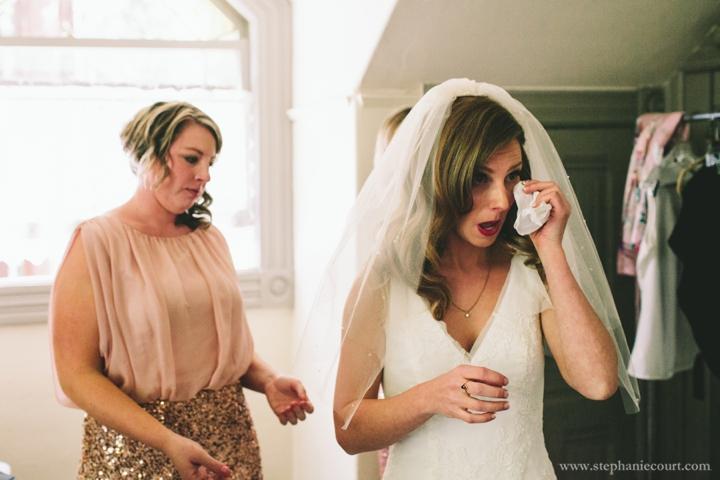 tearful bride getting ready