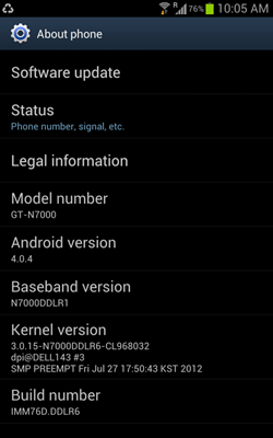 Update Samsung Galaxy Note to Android 4.0.4 Firmware in India