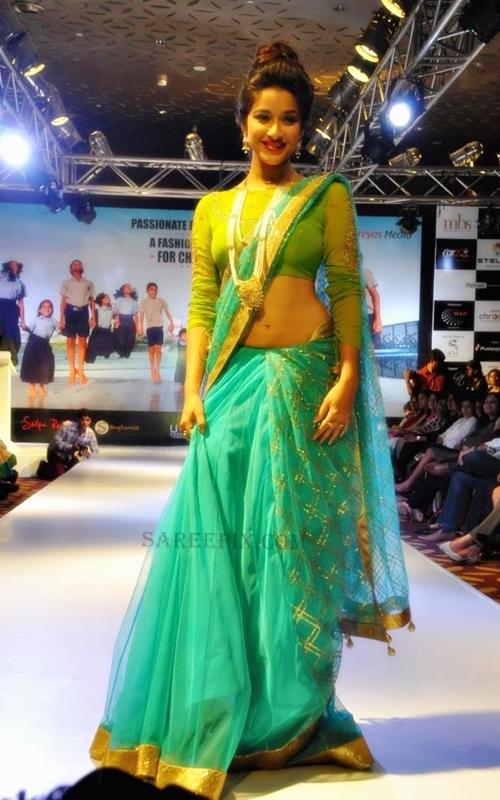 Madhurima Saree Ramp Walk At Passionate Foundation Fashion Show 2013