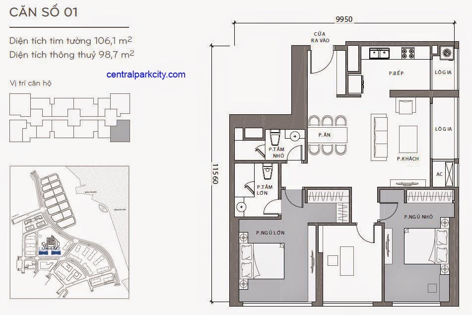 Căn hộ Landmark 2 & 3 - kiểu nhà số 01 - 106.1m2 - 3PN