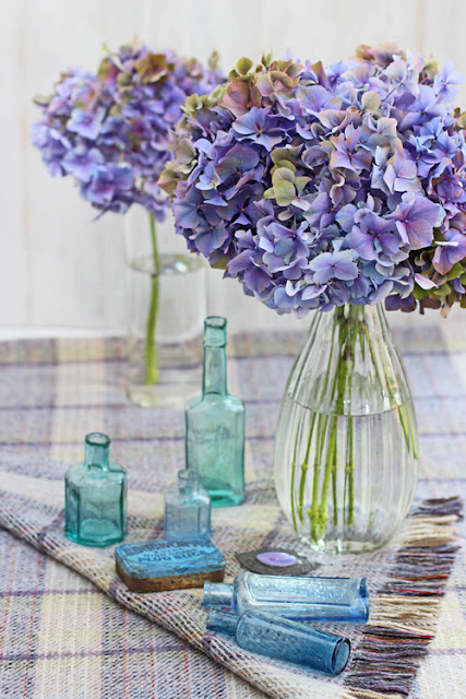 Hydrangea and blue bottles on a blanket