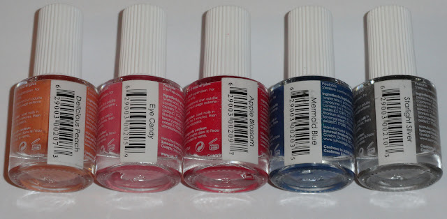 Delicious peach, eye candy, apple blossom, mermaid blue, and starlight