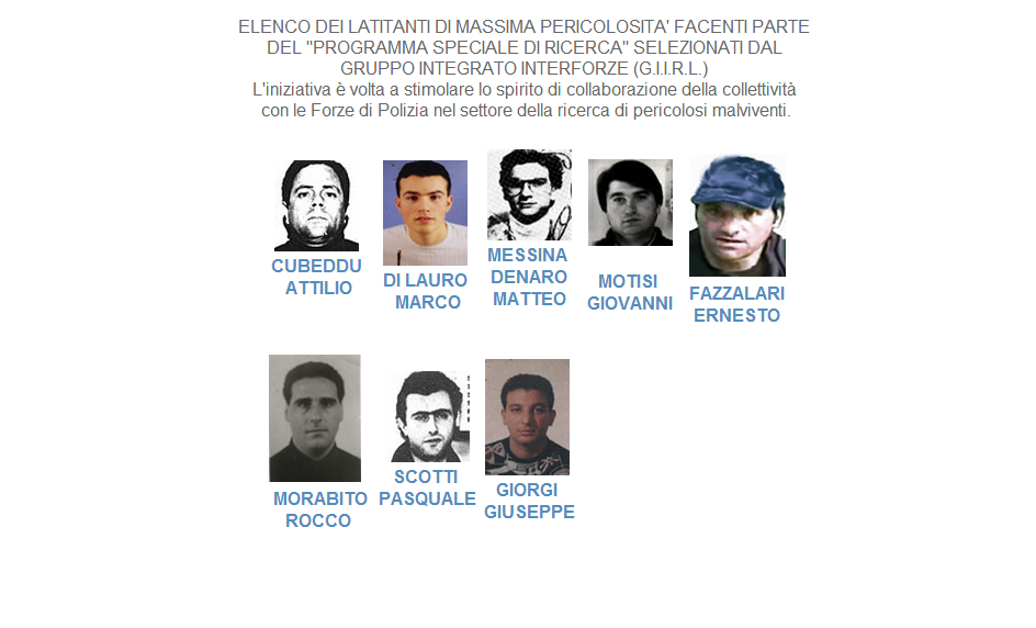 ndrangheta most wanted