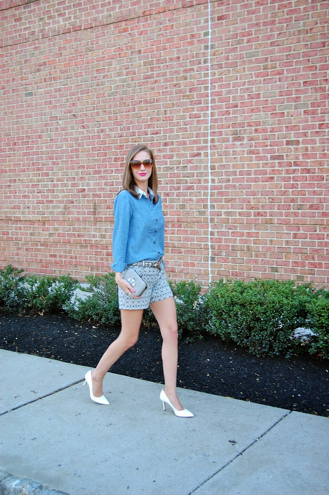Wearing loft embellished chambray shirt, tile jacquard shorts, white bcbg white heels