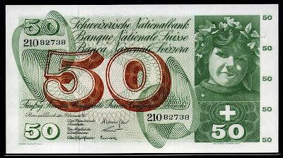 Switzerland 50 Swiss Francs banknote