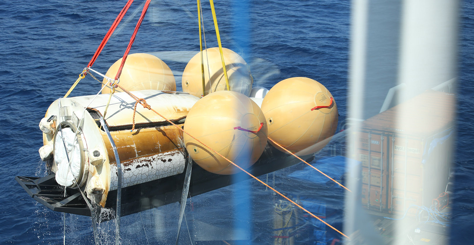 Recovery of ESA's Intermediate eXperimental Vehicle in the Pacific Ocean just west of the Galapagos islands. Credit: ESA–Tommaso Javidi, 2015