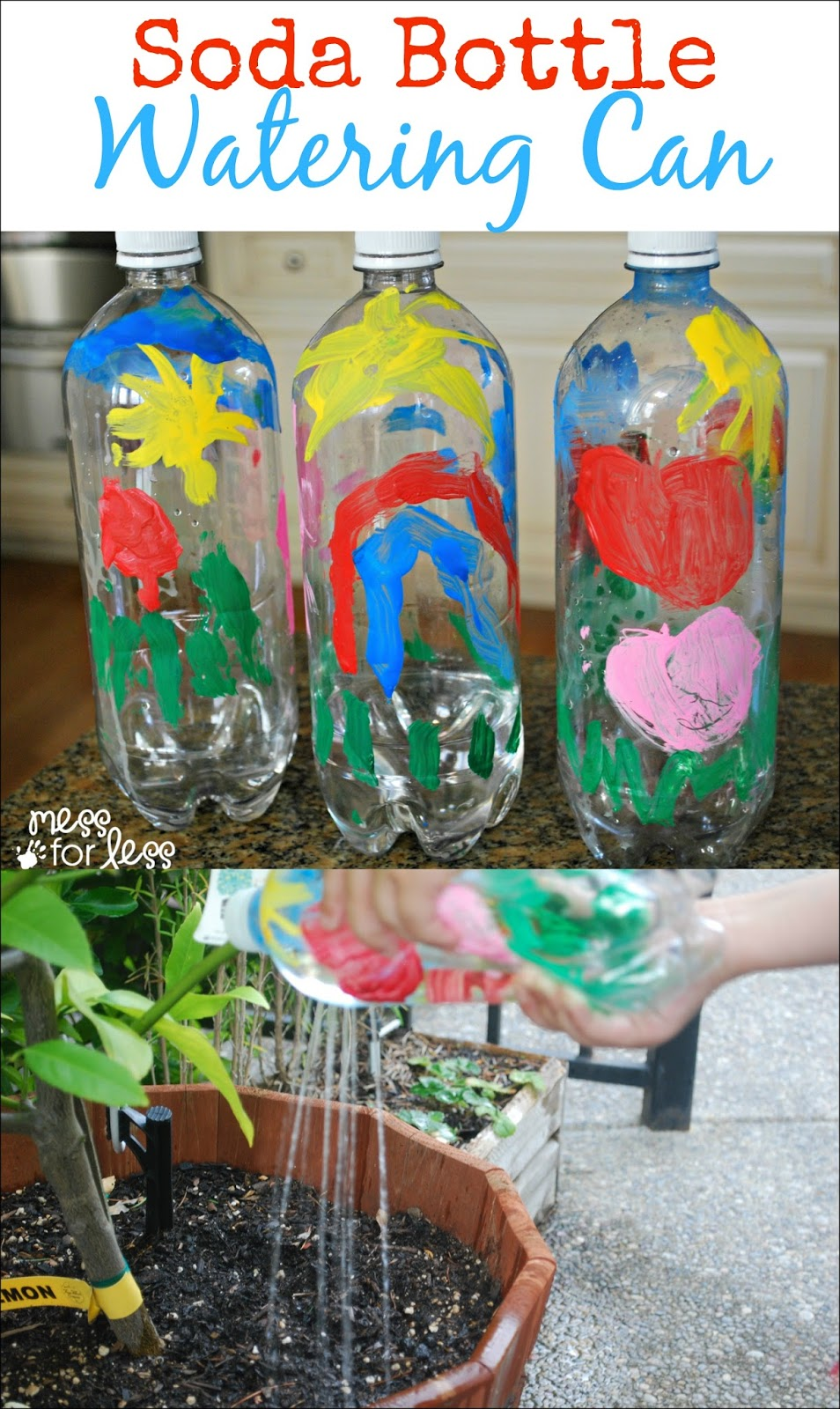 Soda Bottle Watering Can Mess For Less