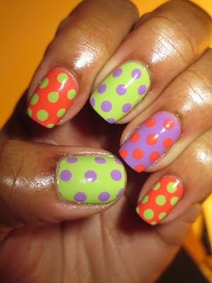 The Crumpet Trip Polish Challenge, March, Day 1, coral, green, purple, polka dot, nails, nail art, nail design, mani