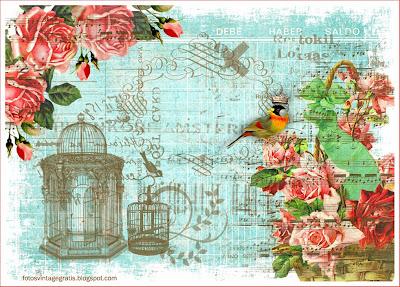 fondo vintage con pájaros y jaulas