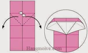 Bước 4: Mở hai lớp giấy ra, kéo và gấp xuống dưới.
