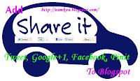 Thêm nút Google+1, Tweet, Like Facebook, Pin It buttons theo chiều ngang vào Blogspot