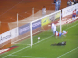 Costa Rica (red, white and blue) scores on a header, Central America Cup, San Jose