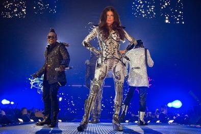 Fergie Shiny Costume on Stage