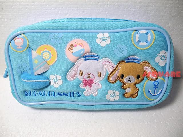 New! Sanrio Sugar Bunnies Cotton Pencil Case Cosmetic Bag Blue, Large
