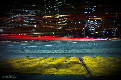 Photo by Ben Heine - Street in the Gangnam District of Seoul, South Korea - long exposure