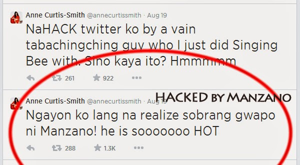 Anne Curtis Twitter account hacked