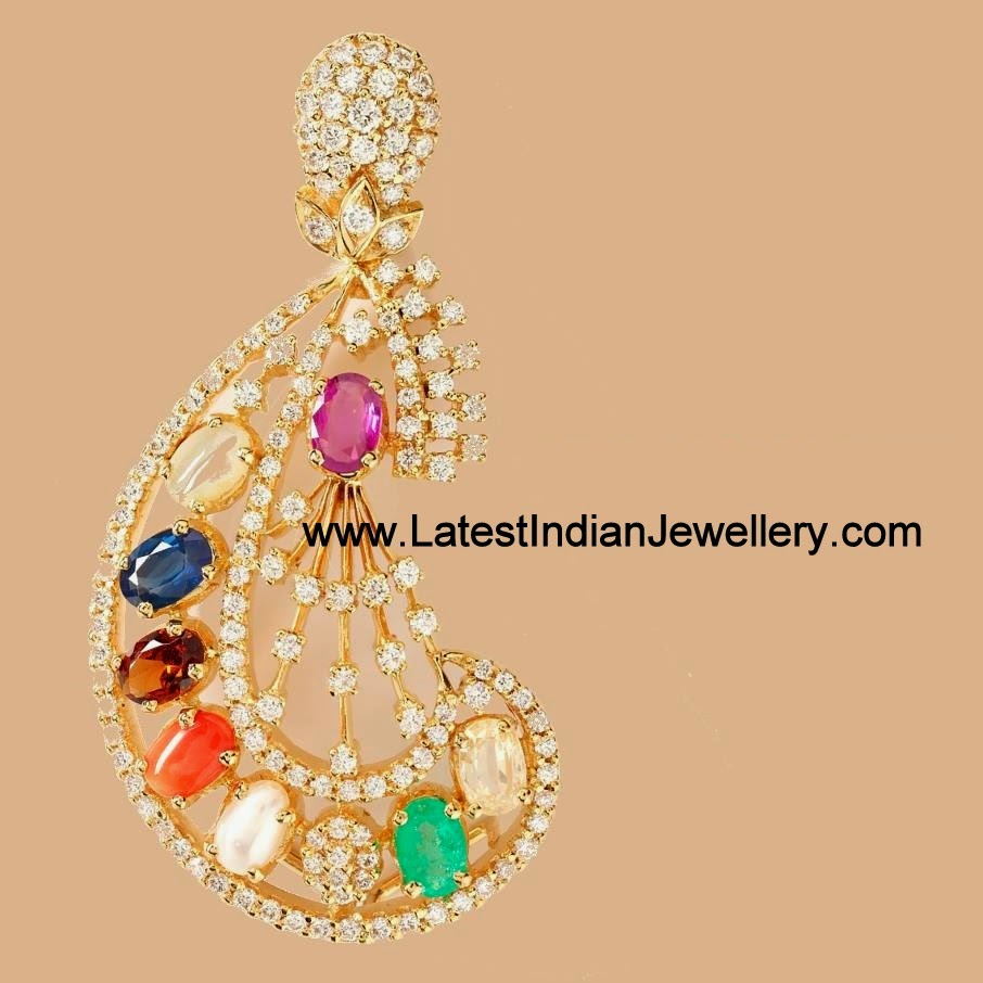 Navaratna diamond pendant