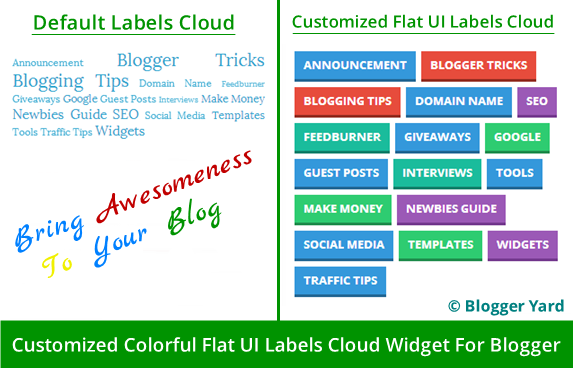 Customized Colorful Flat UI Labels Cloud Widget For Blogger