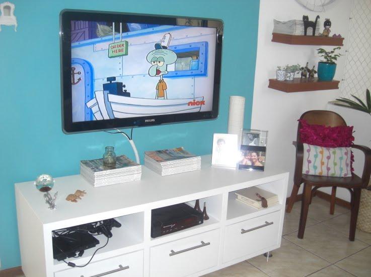 Decoracao Sala Tv Lcd ~ decoracao de sala azul turquesa sala de tv já era muito aconchegante
