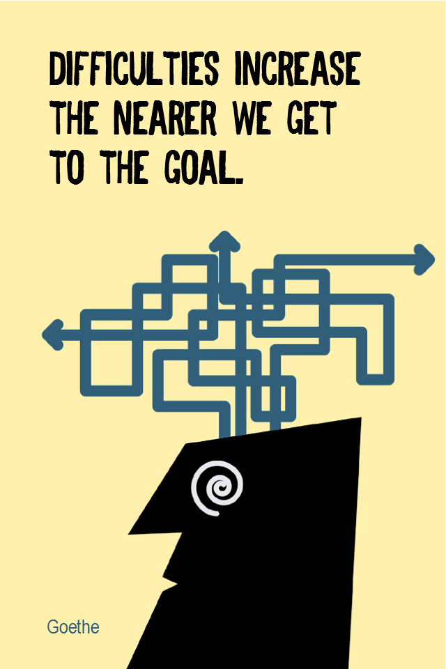 visual quote - image quotation for PERSISTENCE - Difficulties increase the nearer we get to the goal. - Goethe
