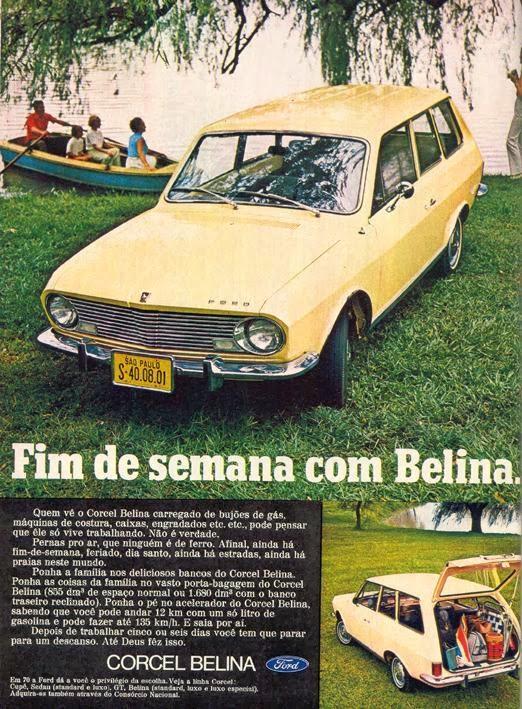 Anúncio de lançamento do Corcel Belina (Ford) em 1970.