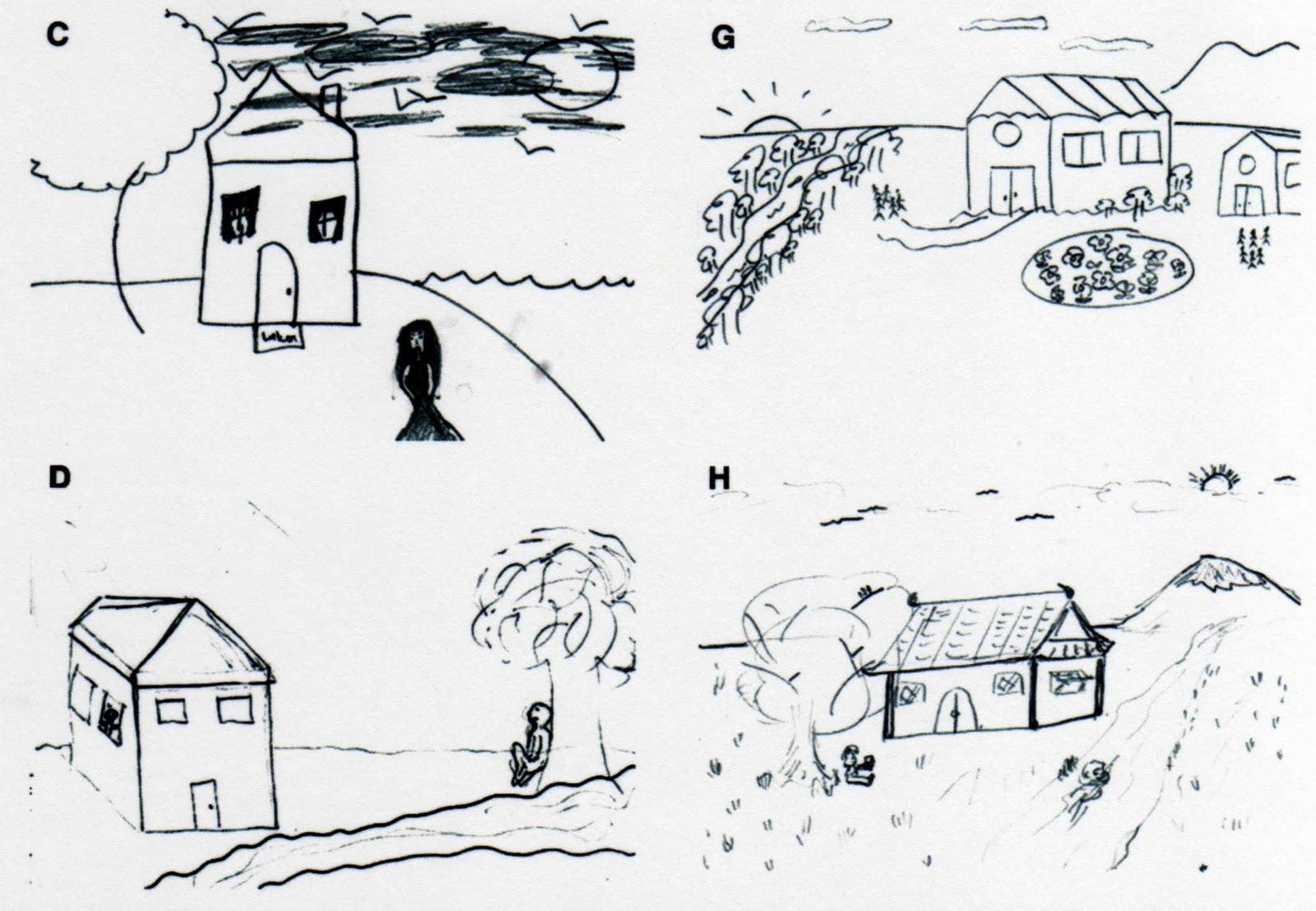 La photo et les dessins de gauche ont été réalisés par des étudiants étasuniens usa alors que la photo et les deux dessins de droite lont été par