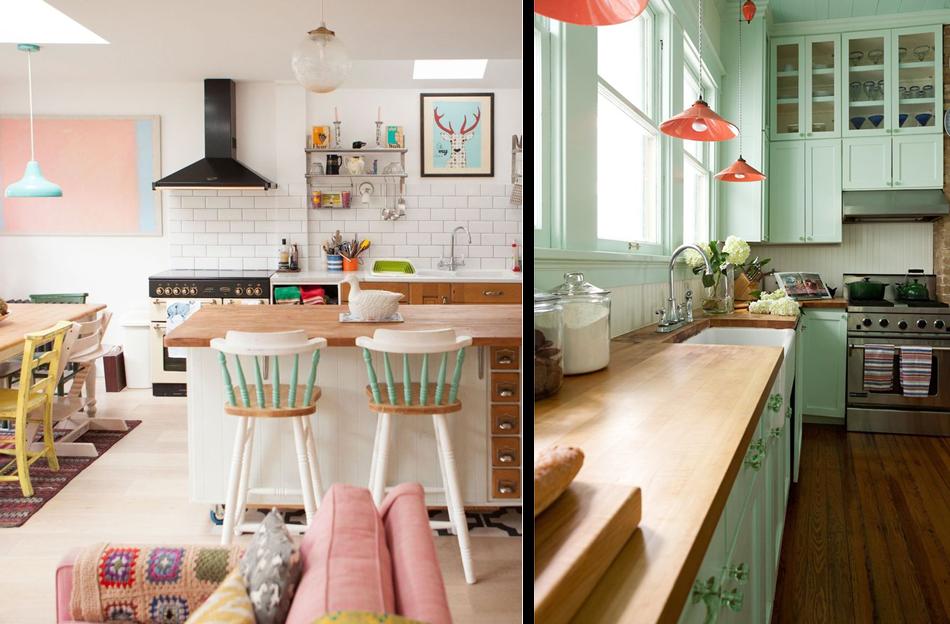 a gauche dautres couleurs ajoutent une ambiance plus moderne lensemble avec des lments originaux comme ces chaises de bar peintes en plusieurs - Cuisine Vert Eau