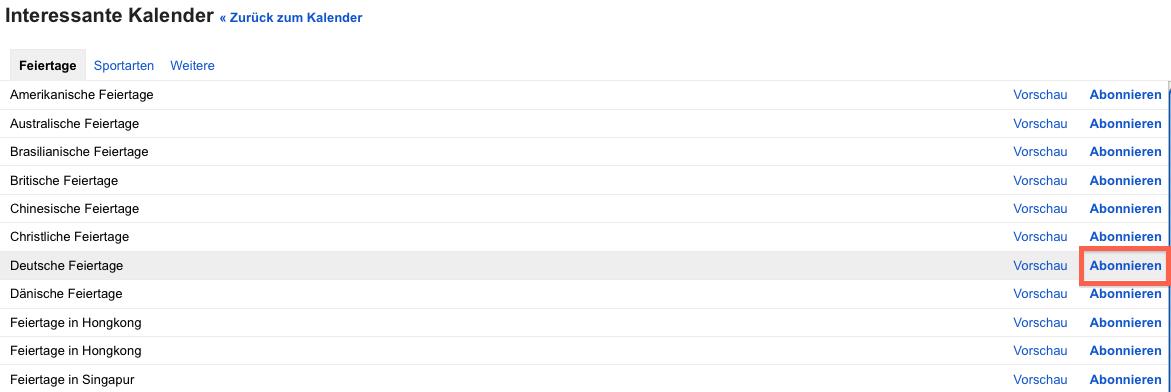 """Screenshot einer Ansicht des Google Kalender, Menupünkt """"In interessanten Kalendern suchen"""""""