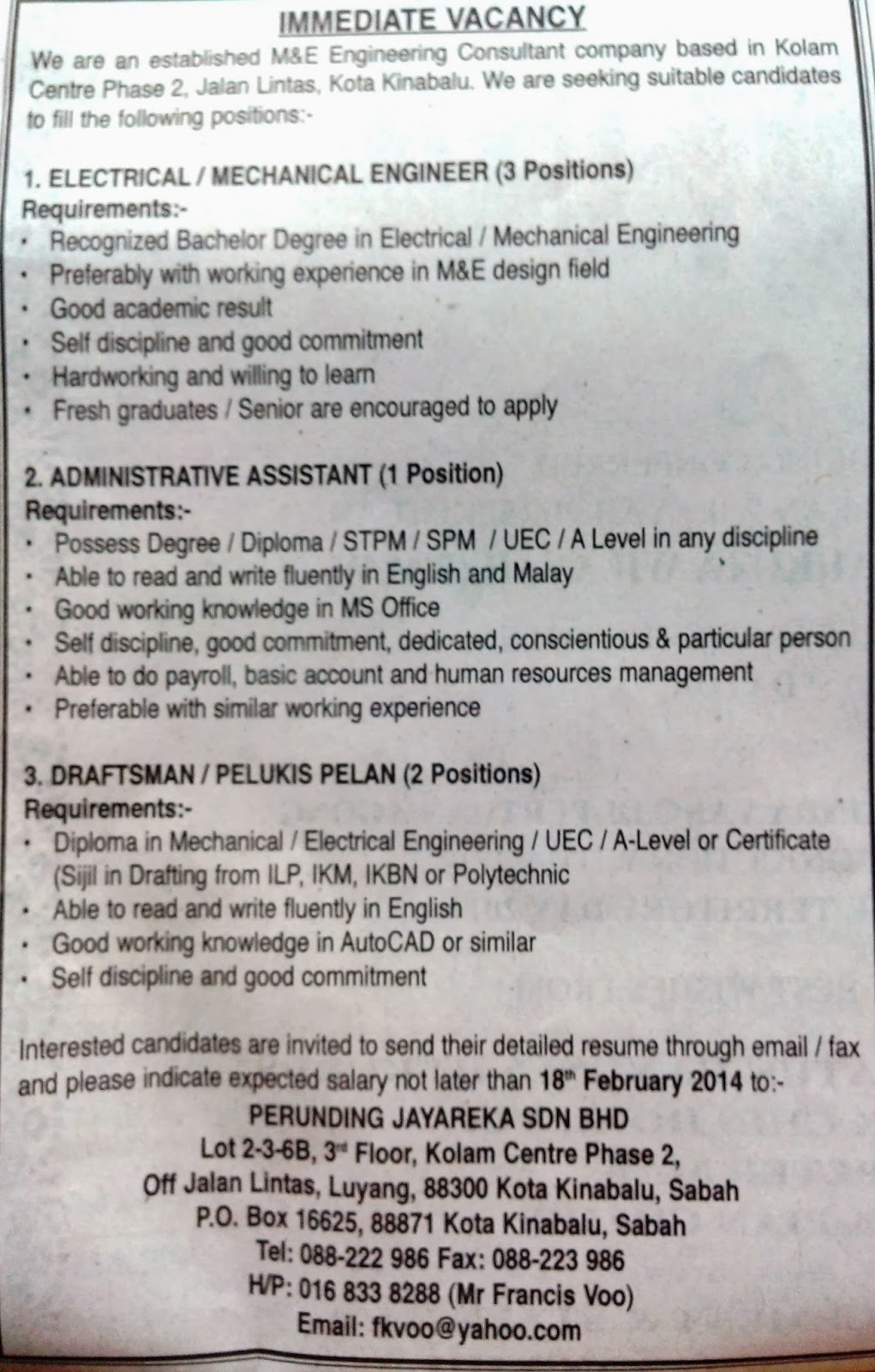 MULTIPLE VACANCIES IN M&E ENGINEERING CONSULTANT COMPANY - PERUNDING ...