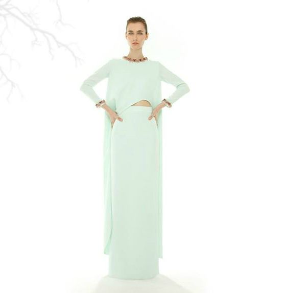 Vestido verde boda invierno