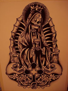 mexican tattoo: Santa Muerte holding a hourglass