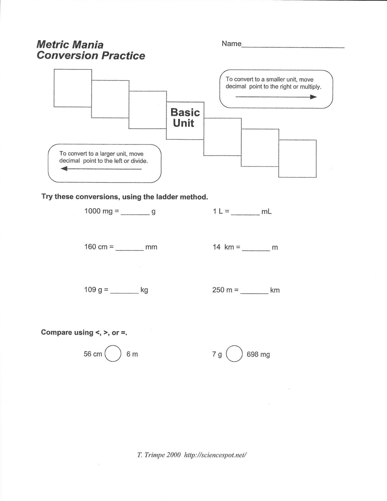Worksheets Metric Mania Worksheet science class metric mania conversion practice practice