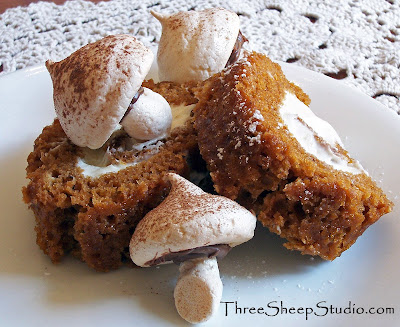 Pumpkin Roll with Merinque Mushrooms - ThreeSheepStudio.com
