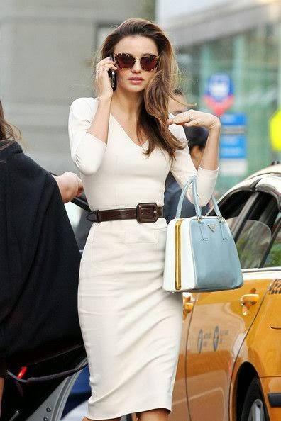 Classy White Belt Dress And Handbag