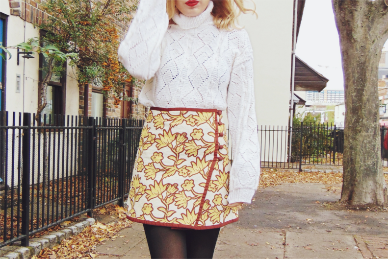 chunky knit roll neck jumper, turtle neck jumper, oversized cream white chunky jumper, a line skirt, button down skirt, autumn fashion style outfit inspiration, winter 2015 ootd