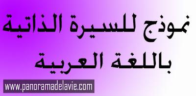 نموذج للسيرة الذاتية باللغة العربية