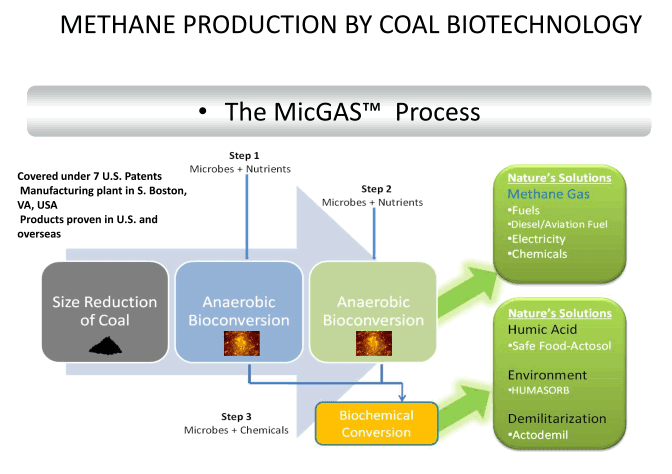 Methane production by coal biotechnology