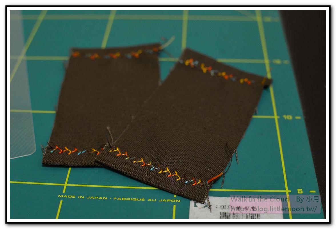 兩端摺燙後車縫裝飾線