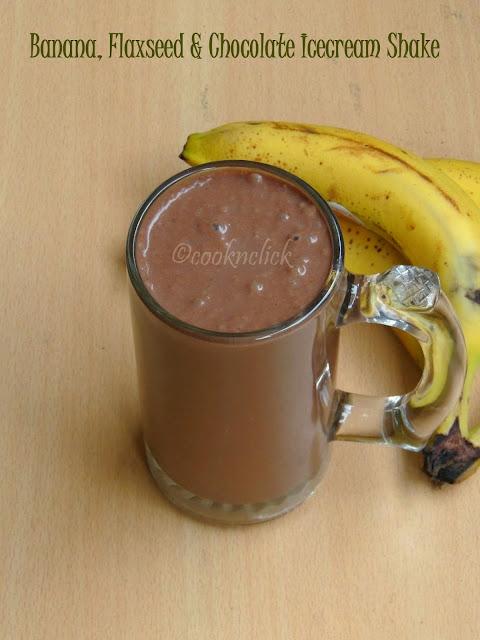 Banana, chocolate icecream & flaxseed shake