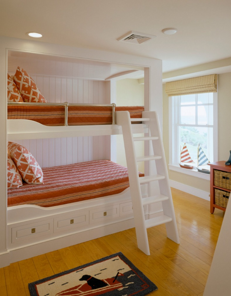 Coastal guest room with bunk beds