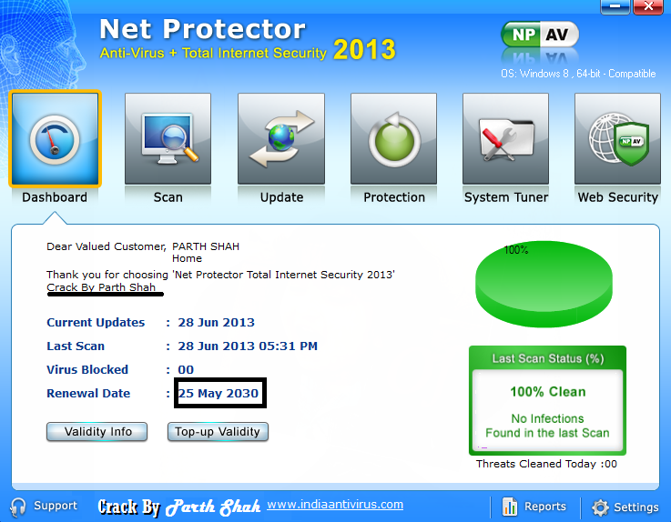 Update net protector antivirus. Note: If you update your npav 2013 then cl