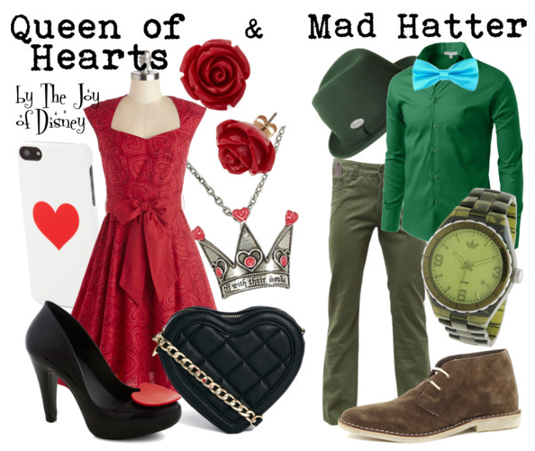queen of hearts costume, mad hatter costume, disney fashion, disney outfits